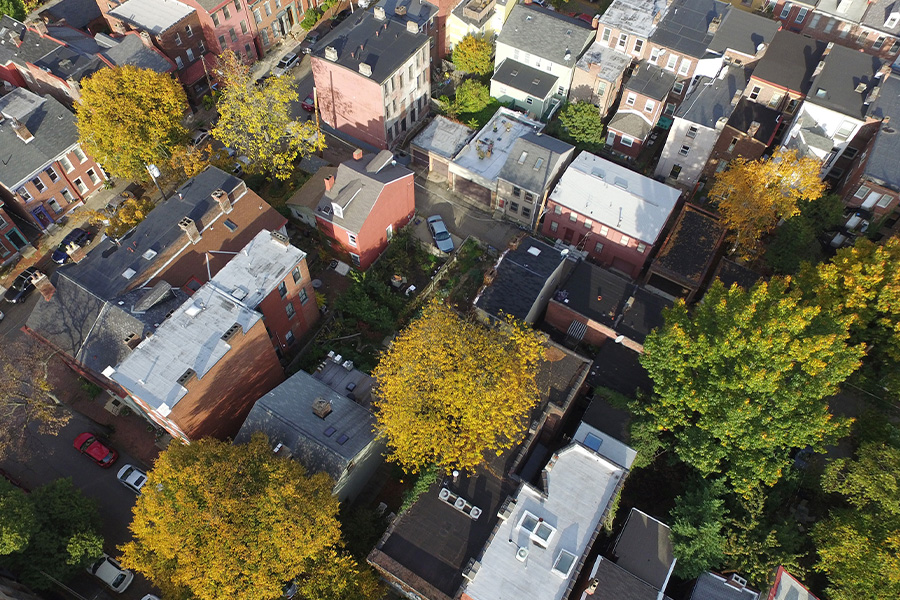 Pennsylvania - Aerial View of Homes and Trees in a Small City Neighborhood in Pennsylvania